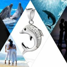 Silver Plated Lovely Crystal Infinite Necklace Pendant Jewelry Dolphin