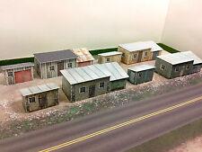 N Scale Buildings - (8) Trackside Sheds  Cardstock kit set TS1N