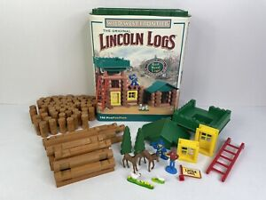 The Original Lincoln Logs Building Set Real Wood -Wild West Frontier SEE DETAILS