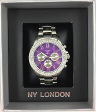 NY London Silver Watch Purple Face Design New