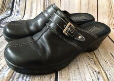 Nickles Womens 8.5 M Lana Black Leather Mule Clogs Silver Buckle Slip On Shoes