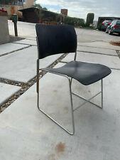 Six David Rowland 40/4 Black Steel Chairs - Vintage - Mid Century - Stacking