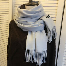 Women's Gray Cashmere Wool Solid Pashmina Scarf Wraps Warm Blanket Scarves