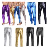 Men's Faux Leather WETLOOK Tight Pants Man Leggings Long Trousers Moto Plus Size
