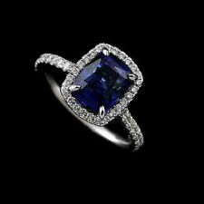 Diamond Cushion Sapphire 14k White Gold Engagement Ring Mounting Setting