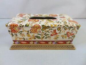 Vintage Decorative Porcelain & Brass Floral Tissue Cover Box