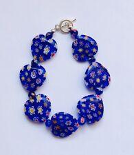 Stunning Millefiori Cobalt Blue Heart Glass Bracelet Version 1