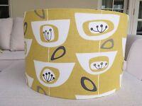 Handmade Lampshade John Lewis Retro/Vintage Seedhead Citrine Yellow Grey Fabric
