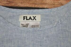 Flax Ladies Casual Top Vest Sleeveless Blouse Blue 100% Linen L / Large