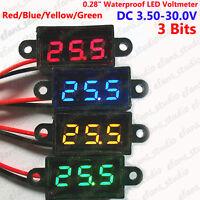 DC 3.5-30.0V Waterproof Digital LED Voltage Monitor Meter 5V 12V 24V Car Battery