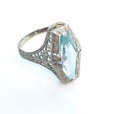 3 Carat Aquamarine Ring Vintage Filigree 10K White Gold