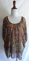 Pleione S Brown Pink Abstract Boho Fall Peasant Blouse Gypsy Top Festival Shirt