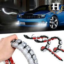 2x Car Flexible 12 LED DRL Daytime Running Light Driving Daylight Fog Light Lamp