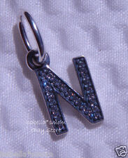 LETTER N Authentic PANDORA Sterling Silver/Cz Zirconia Dangle NEW Charm-Bead NEW
