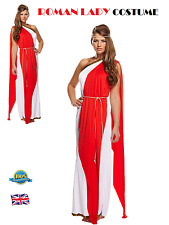RED ROMAN LADY COSTUME Greek Goddess Outfit Roman Toga Ladies Fancy Dress Party