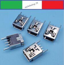 connettore a saldare mini USB femmina 2 fissaggi posteriori 5pin 180° PCB