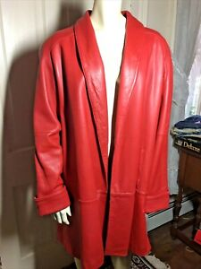 d Linea Collection 100% Leather red Lined Opened Trench Coat - Size -large