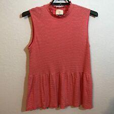 T. LA (Anthropologie) Women's Striped Peplum Tank Top, Size XLarge, Pink & White