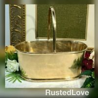 Mottahedeh Design Solid Brass planter with Handle Polished Thick Brass Vintage