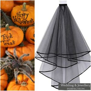 BLACK Wedding Gothic HALLOWEEN Veil Edge Comb Elbow Length Fancy Dress Party 2T