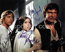 Star Wars Cast Signed By 3 8x10 Autographed Reprint Carrie Fisher, Mark Hamill