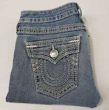 True Religion faded denim jeans size 29 Made in USA  5 pocket white stitching