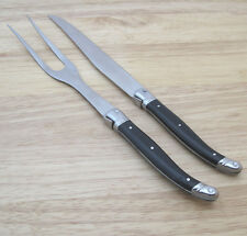 Laguiole Stainless Steel Carving Set Bee Motif Black Handle France