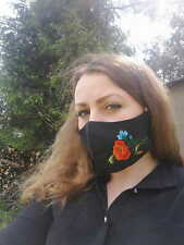 BLACK FACE MASK WITH folk LOWICZ EMBROIDERY (POPPIES AND CORNFLOWERS) - 3D SHAPE