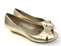 Cole Haan Gold Leather Peep Toe Low Wedge Heel Women Shoe Size 9 B Slip On EUC