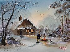"MAL..BURTON ORIGINAL ART OIL PAINTING ""MORE STICKS FOR THE FIRE BOY WINTER SNOW"