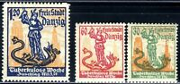 1921 Germany Danzig ⚱️ Tuberculosis Week George Dragon - Mi-90-92 SG-93b  MNH OG