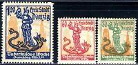 1921 Germany Danzig ⚱️ Tuberculosis Week George Dragon - Mi-90-92 SG-93b  MNH OG