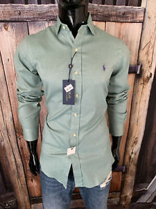 Polo Ralph Lauren Long Sleeve Off Green Dress Shirt Size Small NWT $98.50