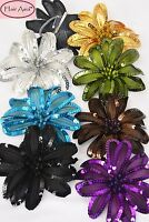 Large Silk Flower Hair Clip with Sequins (multipurpose clip/pin/elastic pony) 6""