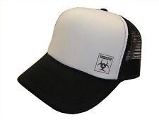 Black Biohazard Symbol Side Logo Black & White Mesh Trucker Cap Caps Hat Hats