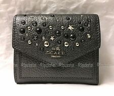 Coach 59510 Star Rivets Leather Trifold Small Wallet METALLIC GRAPHITE Gray NWT