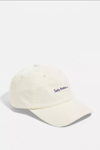 BN Urban Outfitters iets frans Creme Washed Cotton Baseball Cap Lilac Stitching