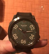 New Nixon A466-2069 Ranger Stainless Steel  Green Oxide Leather Band Watch