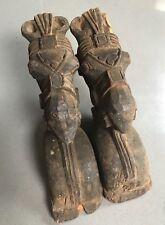 ANTIQUE/VINTAGE INDIAN WOODEN HORSE HEAD SCULPTURES. HUGE PAIR. FADED TEAK c1850