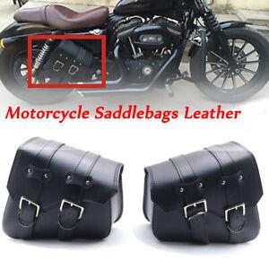 Motorcycle Side Saddle Bags Panniers Waterproof Leather Motorbike Luggage Bag