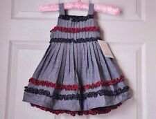New! Bonnie Baby Dress Gray Red Black W/bloomer Girl Sz 24 Mo 2pc 4th July