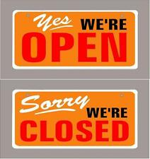 "1-Open,1-Closed sign (pair) Orange 4""x9"" aluminum-Free Shipping"