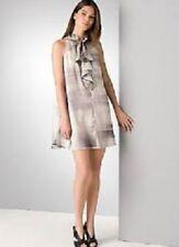 THEORY Shiny Gray Brushstroke Stretchy Silk Ruffled COLETTI TWILIGHT Dress M