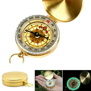 Pocket Noctilucent Compass Brass Hiking Camping Watch Style Retro Vintage Design