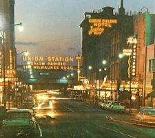 Howard Street Strip Spokane Washington Classic Cars Neon Vintage Postcard