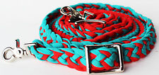 Roping Knotted Horse Western Barrel Reins Nylon Braided Romel Turquoise RD 60792