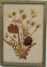 "Vintage~~1975 Signed Handmade~~Framed Dried Flower Art~~3.5"" x 5"" Brass Frame"