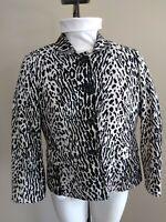 TALBOTS Women's Size 8 98% Cotton Blazer Jacket Black Off White Animal Print
