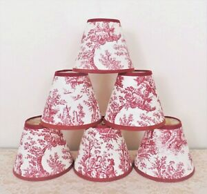 6 Clip-On Miniature Lamp Shades for Chandelier Candlestick Sconces Toile