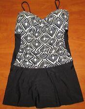 99a92f092e Tropical Escape Medallion Women's Black Shirred Front Swim Dress Plus Size  18